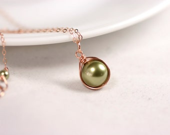Rose Gold Green Pearl Necklace Wire Wrapped Rose Gold Necklace Rose Gold Jewelry Light Green Swarovski Pearl Jewelry Bridal Pearl Necklace