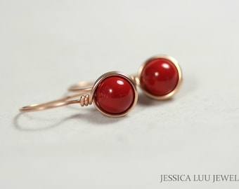 Rose Gold Red Coral Earrings Wire Wrapped Jewelry Handmade Rose Gold Earrings Rose Gold Jewelry Red Coral Jewelry Swarovski Pearl