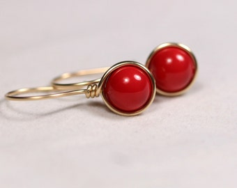 Gold Red Coral Earrings Wire Wrapped Jewelry Handmade Gold Earrings Gold Jewelry Red Earrings Red Coral Jewelry Rose Gold Swarovski Pearl
