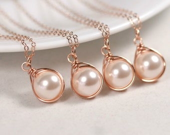 Set of 4-10 Rose Gold Pearl Bridesmaids Necklace Bridal Pearl Necklaces Rose Gold Bridal Jewelry Rose Gold Bridesmaids Gifts Creamrose