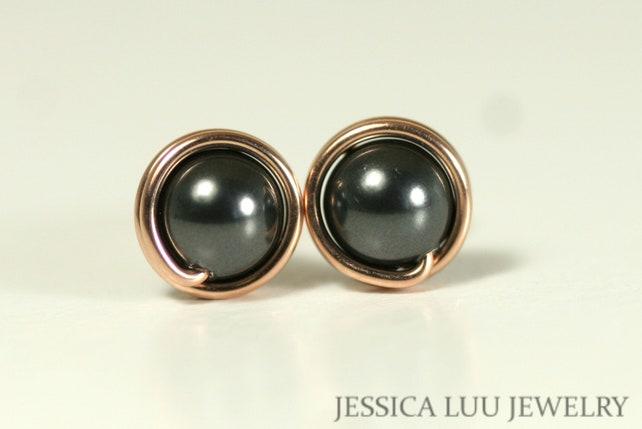Rose Gold Gestüt schwarze Perle Ohrringe Draht umwickelt | Etsy