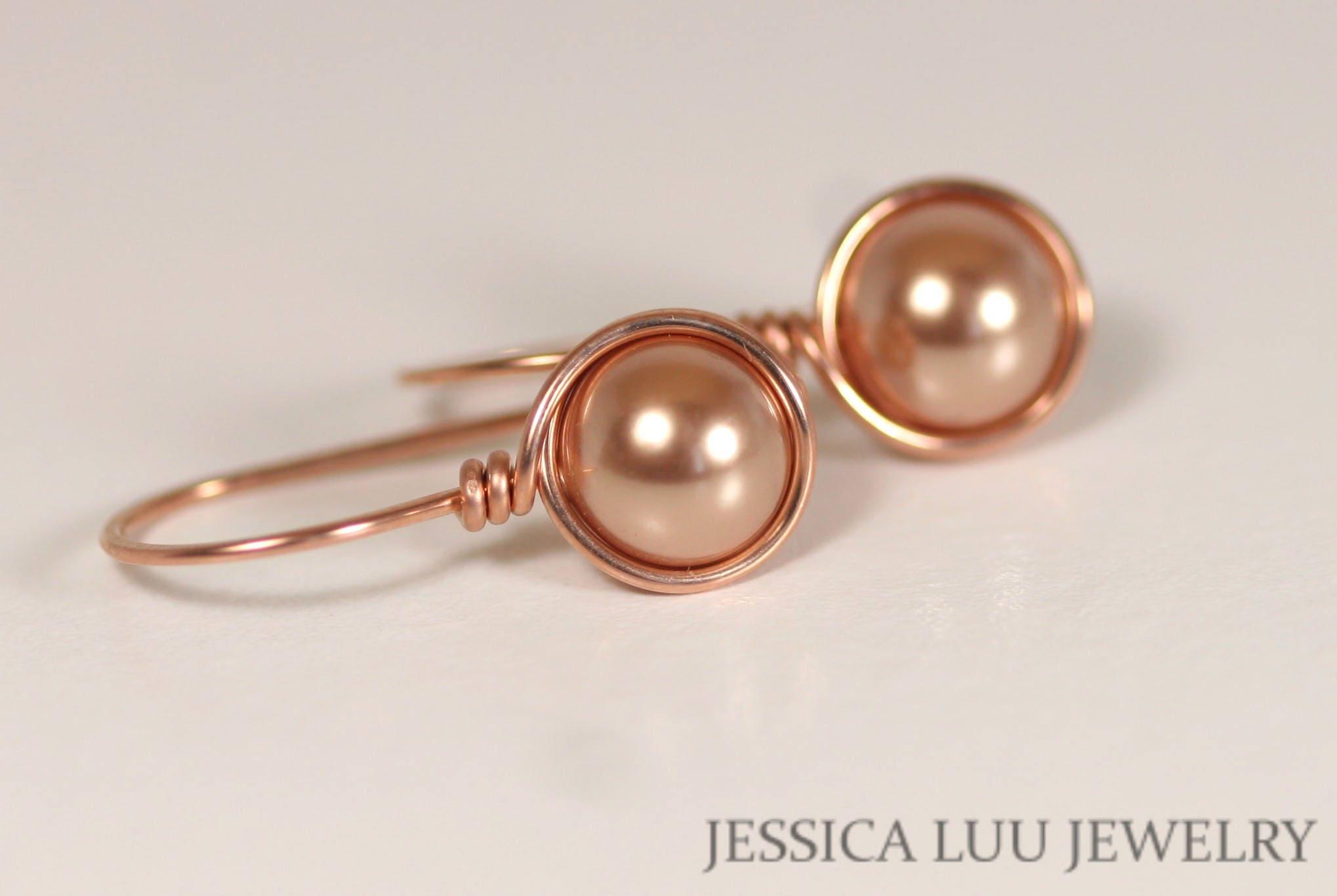 Rose Gold Ohrringe Draht umwickelt handgemachte Rosa Gold