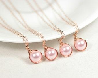 Set of 4-10 Rose Gold Pink Pearl Bridesmaids Necklace Bridal Pearl Necklaces Rose Gold Bridal Jewelry Rose Gold Necklaces Bridesmaids Gifts