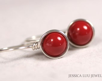 Red Coral Earrings Wire Wrapped Jewelry Sterling Silver Earrings Red Earrings Red Coral Jewelry Rose Gold Earrings Swarovski Pearl
