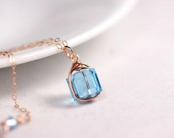 Rose Gold Aquamarine Necklace Wire Wrapped Jewelry Handmade Rose Gold Necklace Rose Gold Jewelry Aquamarine Swarovski Crystal Necklace