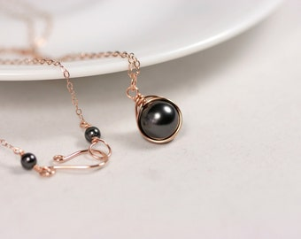 Rose Gold Black Pearl Necklace Wire Wrapped Jewelry Handmade Rose Gold Necklace Pearl Solitaire Necklace Black Swarovski Pearl Pendant