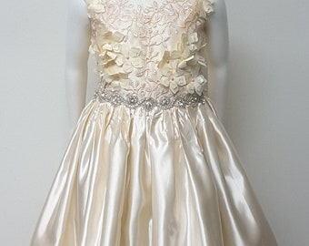 Princess Flower Girl Dress. Hi-Lo. Wedding. Pageant. Special Occasion. Handmade.