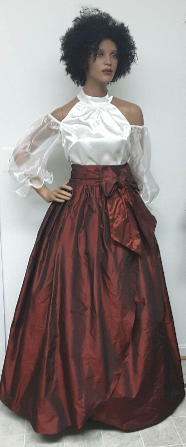 Iridescent Burgundy Silk Taffeta Front Wrap MAXI Skirt. Ball Gown ...