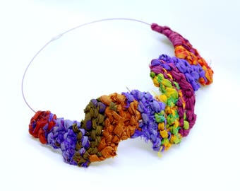 Silk Necklace, Fabric Necklace, Chunky Necklace, Textile Necklace Fiber Art Necklace, Fabric Jewelry, Colorful Necklace Recycled Jewelry Bib