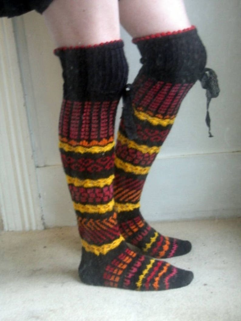 a12778070fe Fiery embers hand knitted over the knee socks gryffindor