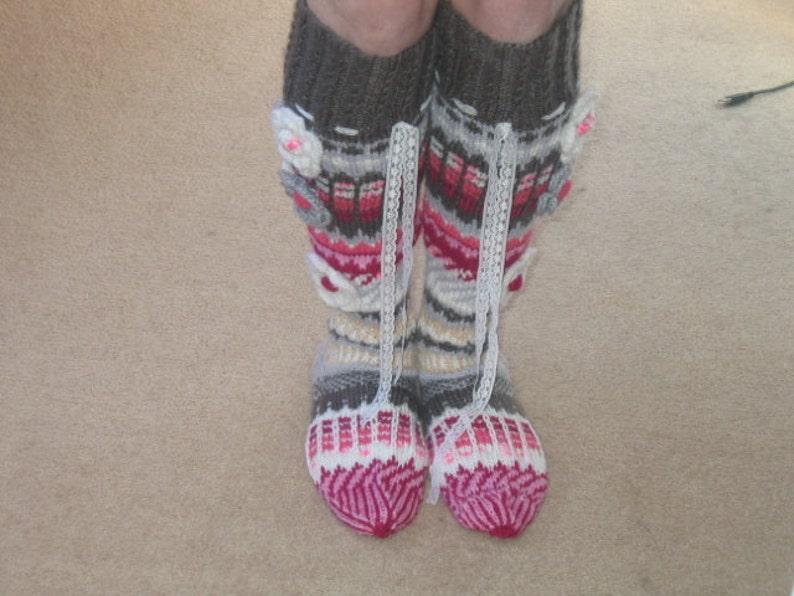 made to order summer garden knee high hand knitted socks