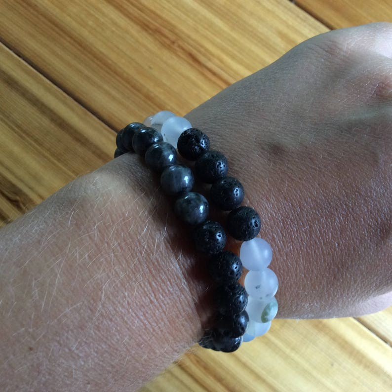 8 mm Frosted white agate beads Lava bead essential oil diffuser bracelet for aromatherapy