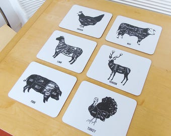 Set of 6 Mixed Animal Meat Cuts Place Mats