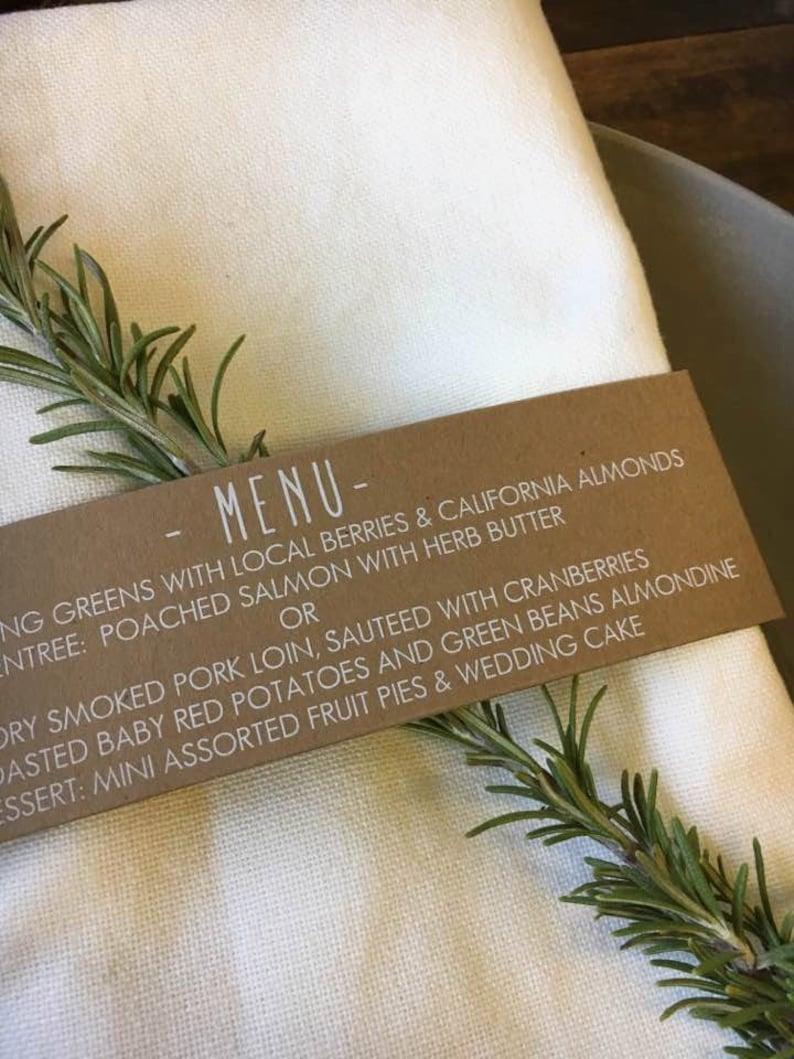 Wedding Menu Cards Napkin Menu Wrap Wedding Menu Menu image 0