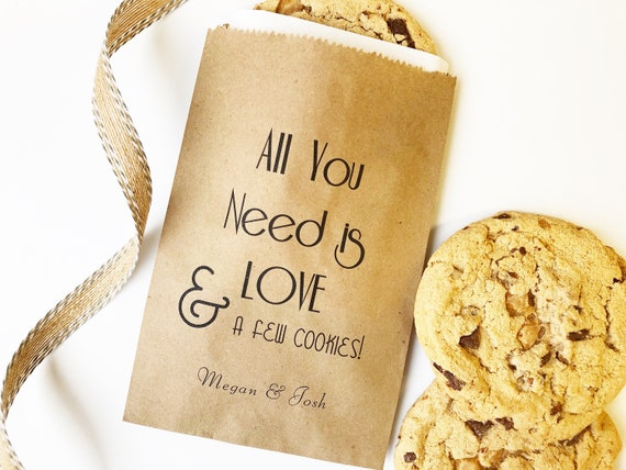 Cookie Bag Personalized Wedding Favor Wedding Favor Bags Wedding Treat Bag Candy Buffet Bag Late Night Snack Bag Cookie Favor Bags