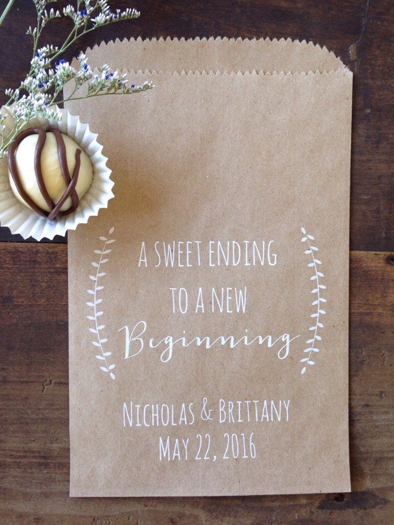 Marvelous Wedding Cookie Bags Candy Buffet Sacks Custom Wedding Favors 25 Printed Paper Bags Recycled Kraft Paper Personalized Printed Bag Home Interior And Landscaping Palasignezvosmurscom