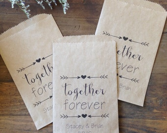Wedding Favor Bags, Candy Bags, Personalized Custom Printed paper Bags, Pack of 25 5x7 bags