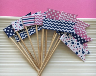 Pink snd Navy Party Picks / Food Picks / Cupcake toppers / set of 24