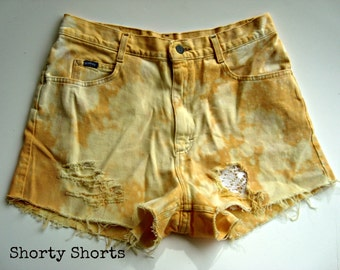 89d868128e SALE High Waisted Lace Shorts Dip Dyed Orange and Yellow Tie Dye Denim  Upcycled Jean Shorts Ripped and Distressed Shorts 33