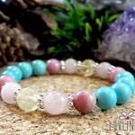 Custom Order for L.M., Turquoise, Rose Quartz, Rhodonite & Citrine Gemstone Mala Bracelet, Healing Reiki Energy