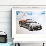 Classic Car Guy gift, portrait commission, FREE SHIPPING, masculine decor, car painting, custom, personalized gift for men