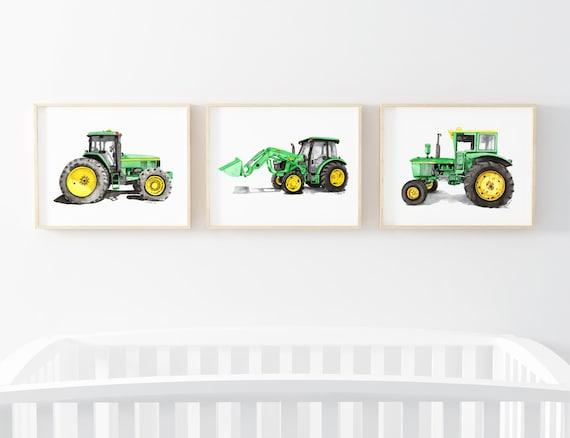 Watercolor art Tractor print Tractor wall decor Printable art Boy room decor Instant download Wall art print Tractor wall art