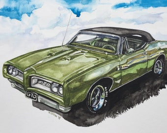 Custom Car Portrait, Personalized gift, personalized, gift for men, wall art, car, painting, watercolor
