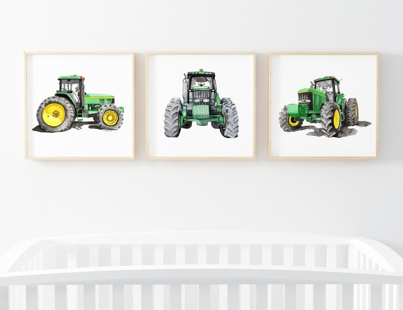 photograph regarding John Deere Printable named Electronic Down load John Deere Tractor Watercolor Established, Printable boys space tractor decor, child boy farm nusery