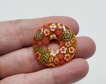 2 pieces 40mm olive millefiori lampwork glass donut pendant S2