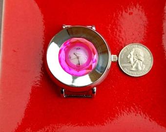 Hot Pink Geneva Watch, Pink Geneva Watch, Big Geneva Watch Face Piece