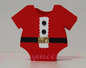 Christmas Santa Baby Onesie Favor Box - Set of 12