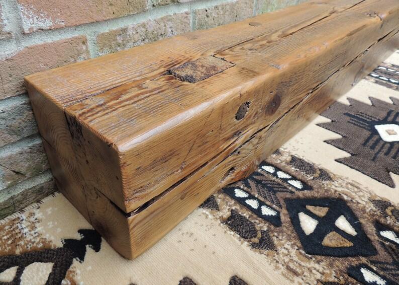 Reclaimed Wood Fireplace Mantel 61 X 8 X 8 Etsy
