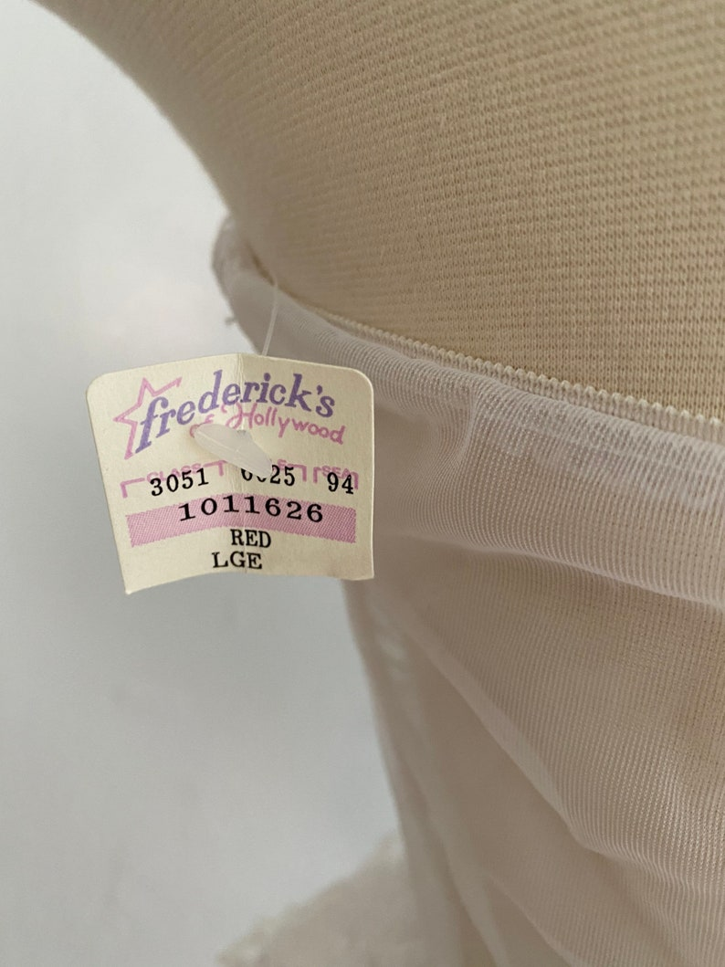 1980s Iconic Fredericks of Hollywood White Lace and Red Velvet Teddy Deadstock with box