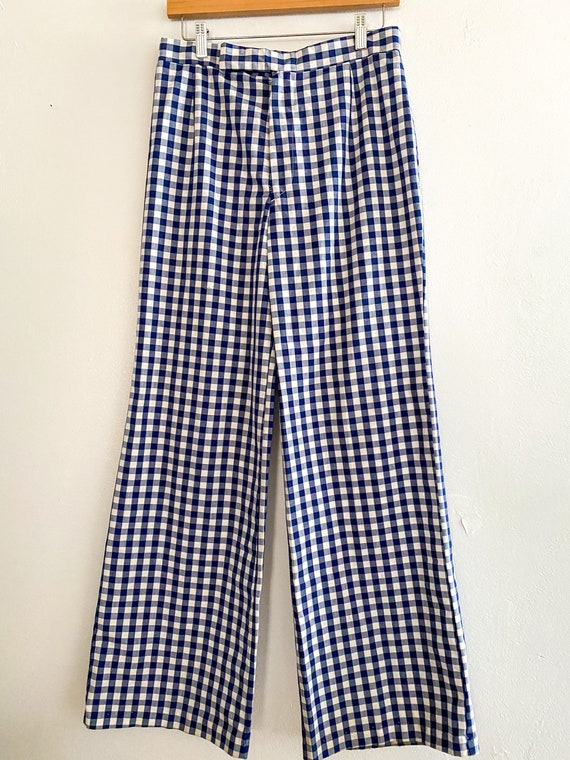 1970s Blue Plaid Lady Wranglers Bell Bottoms