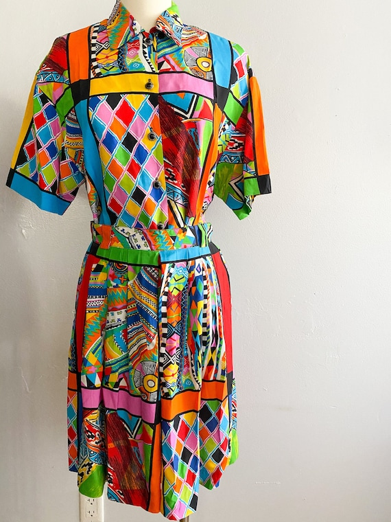 1980s vintage Louben of Canada Two Piece Graphic P