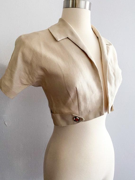 1940s Vintage Linen Bolero Crop Jacket w/ gorgeous