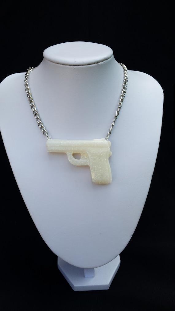 White Iridescent Glitter Resin Gun Necklace Epoxy Resin Statement Necklace Resin Jewelry