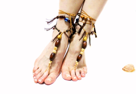 37af837bc22c ... sandals Barefoot barefoot beach sandals foot embroidered sandles flower  toe sandals thong tassel anklet jewelry sandals ...