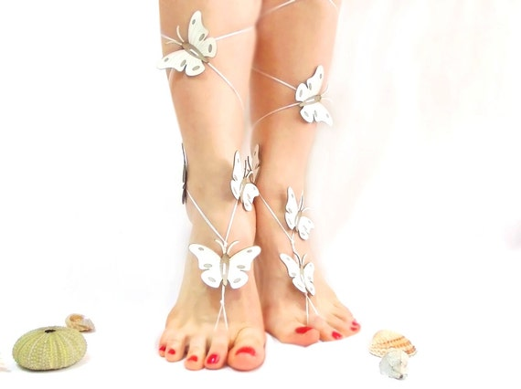 bridesmaid trend special sandals wedding bridal summer butterfly barefoot anklet gifts for jewelry Leather sandal White brides Genuine WqvzOYcpW
