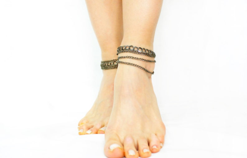Unique Gifts Foot chain Layered Multi Strand Bracelet Delicate image 0