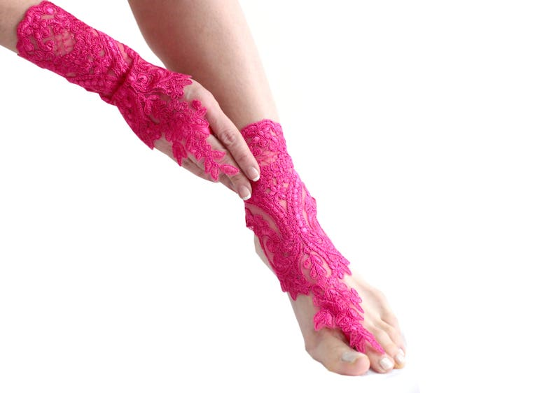527785b292a74 Pink lace barefoot sandals barefoot sandles french lace