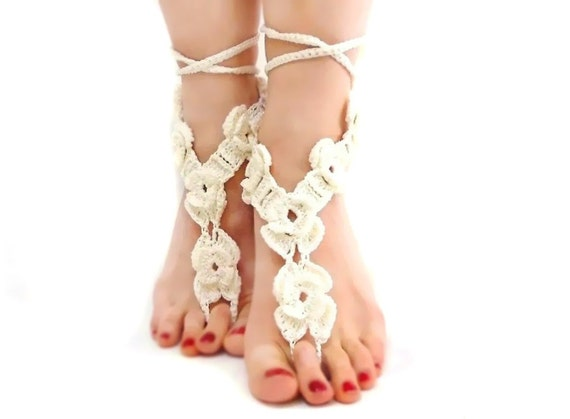 78a71da79dd1d Beach Wedding barefoot sandal Crochet bridal sandals White