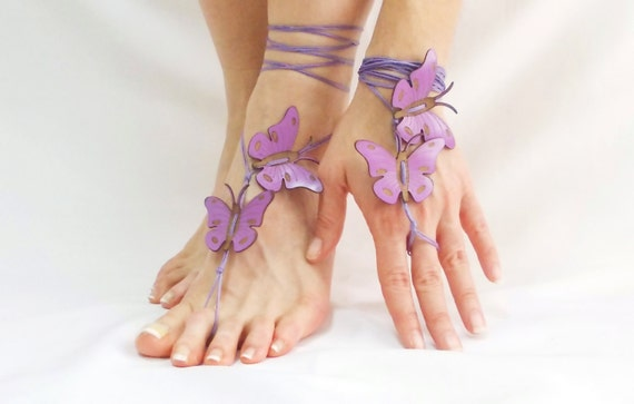 thongs belly friend gift her beach wedding summer butterfly for handmade barefoot sandal dance Lilac yoga best foot boho purple gift qXpwx4Tv