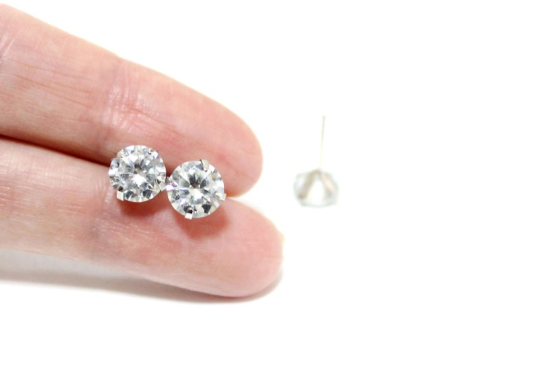 Unique Gifts Personalized Wedding Gift Diamond stud earrings 925 sterling silver Cubic Zirconia Stud Earring Birthday gift Gift for her