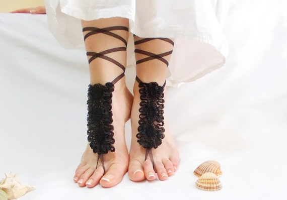 lace sandles wedding Black foot barefoot wedding goth barefoot lace shoes gothic jewelry beach sandal black anklets festival shoes PIxxtwqrz