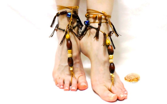1ce608da01fa sandals Barefoot barefoot beach sandals foot embroidered sandles flower toe  sandals thong tassel anklet jewelry sandals ...