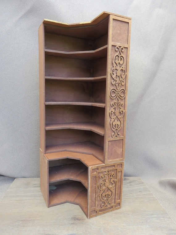 Dollhouse Miniature Corner Kitchen Cupboard Cabinet with Counter 1:12 Scale