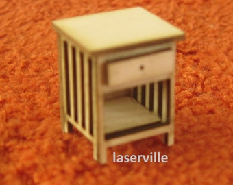Dollshouse miniature quarter scale (1/48) night stand.
