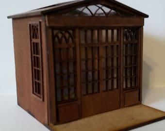 Dollhouse miniature conservatory kit 1/48 quarter scale.