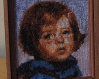 Dollshouse miniature 1:12 cross stich,embroidery kit Crying gypsyboy